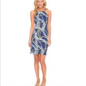 J McLaughlin Navy Chain Print Dress